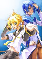 VOCALOID Len and Kaito by jaypao