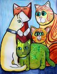 Colorful Cats in Portrait 4 by jenthestrawberry