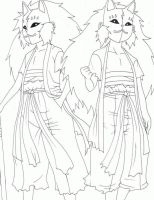 Inmu and Yanku Lineart by Maple-Gunman