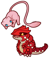 COMMISSION: Chibi Mew and Groudon