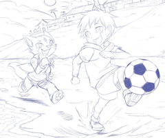 Com: Soccer on the Beach by DragginCat