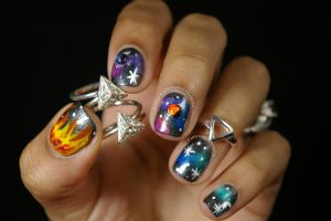 3d Galaxy Nail Art by FatimattiDesigns
