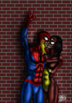 Spider-Man and Spider-Woman kissing - Color by Tuulikk