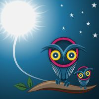 2 owls and the moon by Pepe09