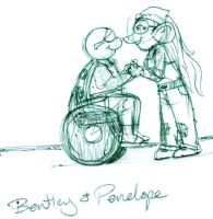 Bentley and Penelope green scribble by brensey