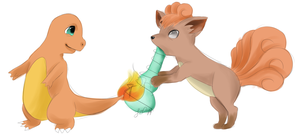 Charmander X Vulpix by drive-a-leaf