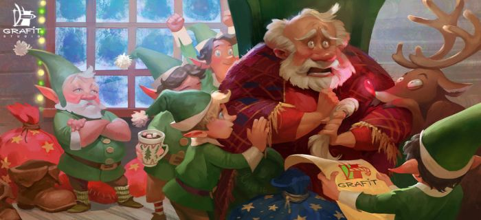 Santa's panic attack by Grafit-art