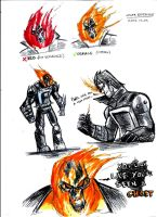GHOST RIDER:SKETCHIN AND COLOR TEST by Sabrerine911