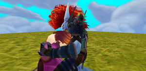 Vol'jin comforting a human mother by MewMewFrostElf