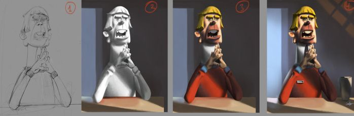 Phases of painting a character by MehmetTayfur