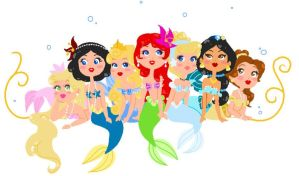 Disney Mermaids by CicatriceMiki