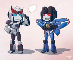 Chibi Prowl and Thundercracker by Tyr44