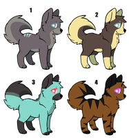 Dog/ Wolf Adoptables CLOSED by RosyKat-Adopts