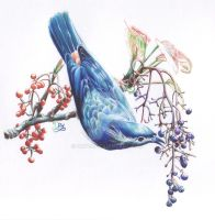 Ballpoint pens: Bird blue sky by Dry89