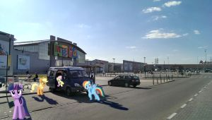 Some ponies near MEGA mall, Moscow by erikngn