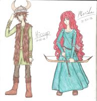 Hiccup and Merida by Different13
