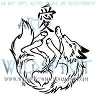 Wolf And Love Kanji Tattoo by WildSpiritWolf