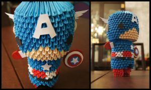 3D Origami: Captain America by sabrinayen