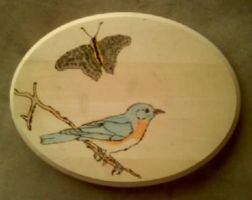 Wood Burning: Bird and the Butterfly by Autobotschic