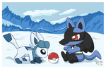 Chibi Glaceon and Lucario by pichu90