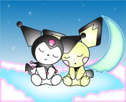 Kuromi and Pichu by LittleMissAntiSocial