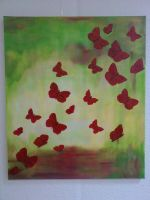 Red Butterflies by Hedwigs-art