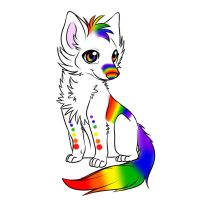 Baby Rainbow Fox by Angelofdarkness199