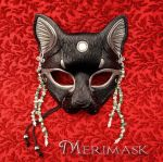 Moonstone Beaded Bast Cat Mask by merimask