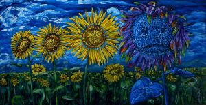 Blue sunflower by Abuttonpress2Nothing