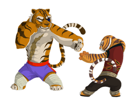 Tigress and Sagat by PrinzeBurnzo