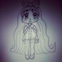 OC Chibi Aiko LineArt by AngelAmethyst