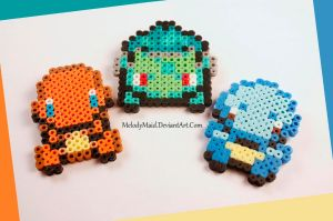 Pokemon Perler - Starters by MelodyMaid