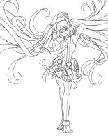 hatsune miku append - lineart by alienfirst