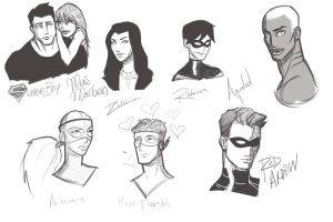 Young Justice Sketch Dump by checeviche