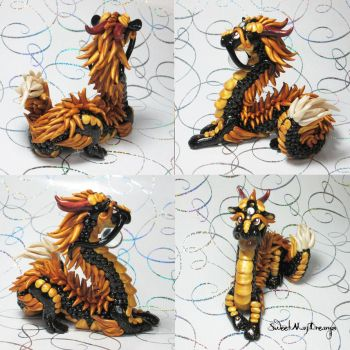 Black and Gold Sparkle Oriental Dragon by SweetMayDreams