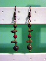 Unakite Drop Earrings by BloodRed-Orchid