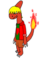 Ronny Cindersmith the hot Charmeleon dude by LumenBlurb