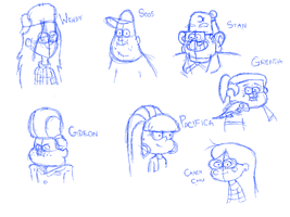 Gravity Falls Sketches by Maddyfae