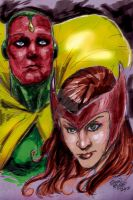 Vision and Scarlet Witch by hoganvibe