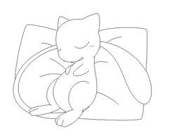 mew lineart1 by michy123