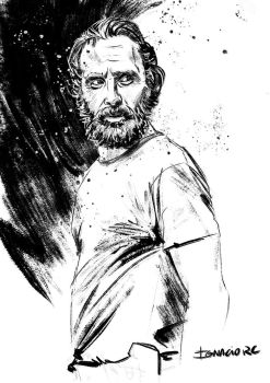Rick Grimes ink sketch by IgnacioRC