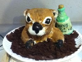 Groundhog birthday cake by MomIsMean