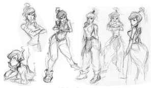 Korra Sketches pg2 by kimchii