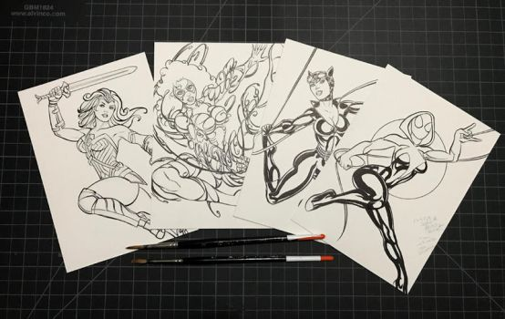 5 X 7 SKETCH CARDS INKED! by AHochrein2010