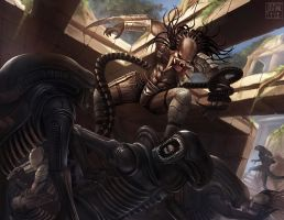 Alien vs Predator fan art by JustineTutubi