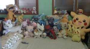 My Pokemon and Digimon plushie collection... by davyjonesentei123