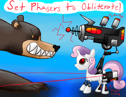 Sweetie Bot vs a Grizzly by Gallade77