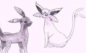 Umbreon and Espeon by SquirrelGirl111
