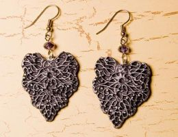 Ornate polymer clay earrings by skuggsida