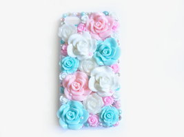 Blue Pink and White Rose Garden Deco iPhone 4 by Kuppiecake